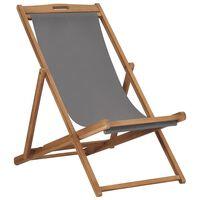 vidaXL Cadeira de praia dobrável madeira de teca maciça cinzento