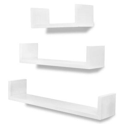 """Conjunto 3 prateleiras de parede em forma de """"U"""" MDF branco"""