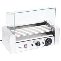 vidaXL Máquina de cachorros-quentes 5 rolos c/ tampa de vidro 1000 W