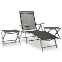 vidaXL 3 pcs conjunto lounge para jardim textilene e alumínio prateado