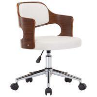 vidaXL Cadeira escritório giratória madeira curvada/couro arti. branco