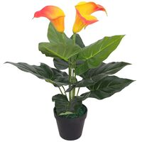 vidaXL Planta jarro artificial com vaso 45 cm vermelho e amarelo