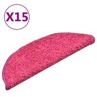 vidaXL Tapete/carpete para degraus 15 pcs 56x17x3 cm rosa