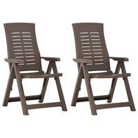 vidaXL Cadeiras de jardim reclináveis 2 pcs plástico mocca