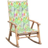 vidaXL Cadeira de baloiço com almofadão bambu