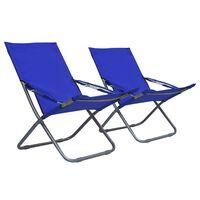 vidaXL Cadeiras de praia dobráveis 2 pcs tecido azul