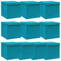 vidaXL Caixas de arrumação + tampas 10 pcs 32x32x32cm tecido azul-bebé