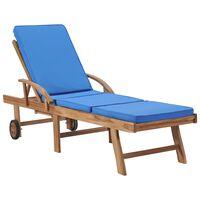 vidaXL Espreguiçadeira com almofadão madeira teca maciça azul