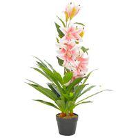 vidaXL Planta lírio artificial com vaso 90 cm rosa