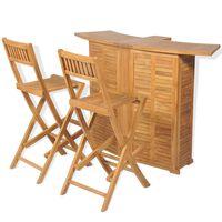 vidaXL Conjunto de bistrô c/ cadeiras dobráveis 3 pcs madeira teca