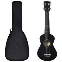 """vidaXL Conjunto ukulele soprano infantil com saco 21"""" preto"""