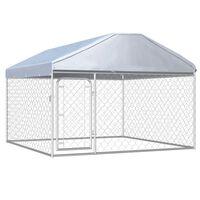 vidaXL Canil de exterior com telhado 200x200x135 cm
