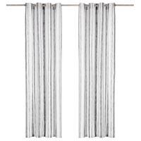 vidaXL Cortinas argolas metal 2 pcs algodão 140x225cm riscas antracite