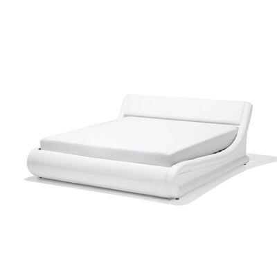 Cama de casal em pele sintética branca com arrumação 180x200 cm AVIGNO,