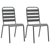 vidaXL Cadeiras de exterior empilháveis 2 pcs aço cinzento