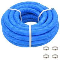 vidaXL Mangueira de piscina com braçadeiras azul 38 mm 12 m