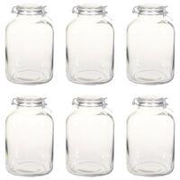 vidaXL Frascos de vidro para compotas com fechos 6 pcs 5 L