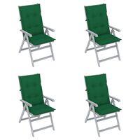 vidaXL Cadeiras jardim reclináveis c/ almofadões 4 pcs acácia maciça