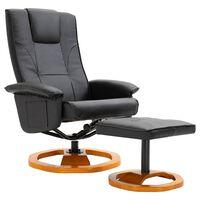 vidaXL Poltrona giratória de TV c/ apoio de pés couro artificial preto