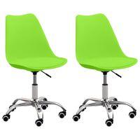 vidaXL Cadeiras de escritório 2 pcs couro artificial verde