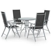 vidaXL 5 pcs conjunto jantar p/ jardim alumínio e textilene prateado