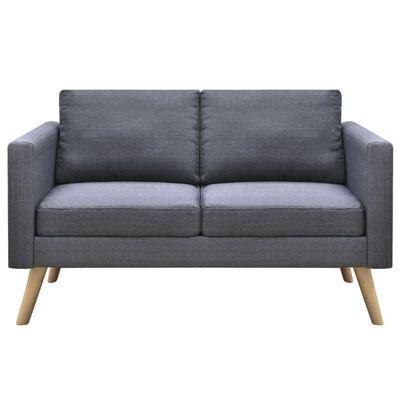 vidaXL Sofá de 2 lugares em tecido cinzento escuro
