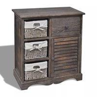 vidaXL Armário de madeira com 3 cestos do lado esquerdo castanho