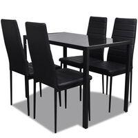vidaXL Conjunto mesa de jantar 7 pcs preto