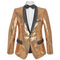 vidaXL Blazer lantejoulas p/ homem tamanho 50 dourado