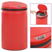 vidaXL Caixote do lixo com sensor automático 40 L aço carbono vermelho