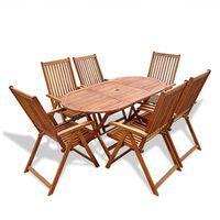 vidaXL 7 pcs conjunto de jantar exterior madeira acácia maciça