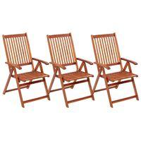 vidaXL Cadeiras de jardim dobráveis 3 pcs madeira de acácia maciça