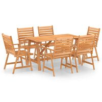 vidaXL 7 pcs conjunto de jantar para jardim madeira de acácia maciça