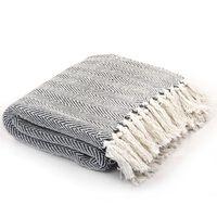 vidaXL Manta em algodão 220x250 cm padrão espinha azul-marinho