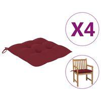 vidaXL Almofadões de cadeira 4 pcs 50x50x7 cm tecido vermelho tinto