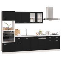 vidaXL 7 pcs conjunto armários de cozinha contraplacado preto
