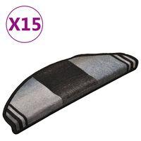 vidaXL Tapetes de escada adesivos 15 pcs 65x21x4 cm preto e cinzento