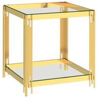 vidaXL Mesa de centro 55x55x55 cm aço inoxidável dourado e vidro