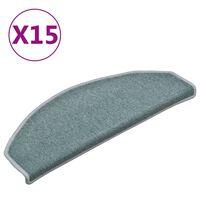 vidaXL Tapete/carpete para degraus 15 pcs 65x24x4 cm azul