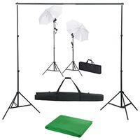 vidaXL Kit estúdio de fotografia com fundo + iluminação e sombrinhas