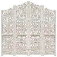 vidaXL Biombo esculp. mão 4 painéis 160x165cm mangueira maciça branco
