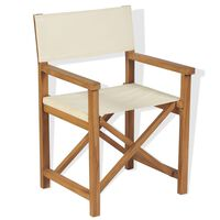 vidaXL Cadeira de realizador dobrável em madeira de teca maciça
