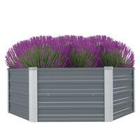 vidaXL Canteiro jardim elevado 129x129x46cm aço galvanizado cinzento