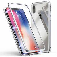 Capa magnética para iPhone X / iPhone XS - vidro / metal prata