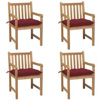 vidaXL Cadeiras de jardim c/ almofadões vermelho tinto 4 pcs teca maciça