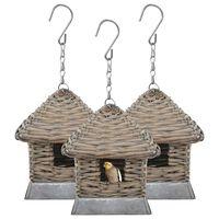 vidaXL Casas para pássaros 3 pcs vime