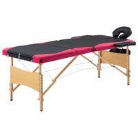 vidaXL Mesa de massagens dobrável 3 zonas madeira preto e rosa