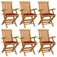 vidaXL Cadeiras de jardim c/ almofadões vermelhos 6 pcs teca maciça
