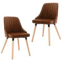 vidaXL Cadeiras de jantar 2 pcs veludo castanho