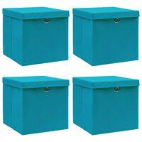 vidaXL Caixas de arrumação c/ tampas 4 pcs 32x32x32cm tecido azul-bebé